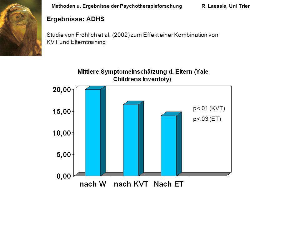 Methoden u. Ergebnisse der PsychotherapieforschungR. Laessle, Uni Trier Ergebnisse: ADHS Studie von Fröhlich et al. (2002) zum Effekt einer Kombinatio