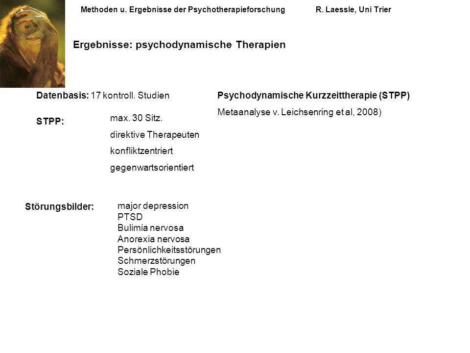 Methoden u. Ergebnisse der PsychotherapieforschungR. Laessle, Uni Trier Psychodynamische Kurzzeittherapie (STPP) Metaanalyse v. Leichsenring et al, 20