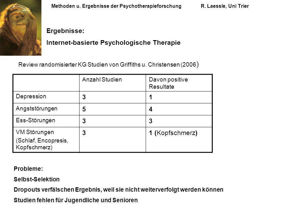Methoden u. Ergebnisse der PsychotherapieforschungR. Laessle, Uni Trier Ergebnisse: Internet-basierte Psychologische Therapie Review randomisierter KG