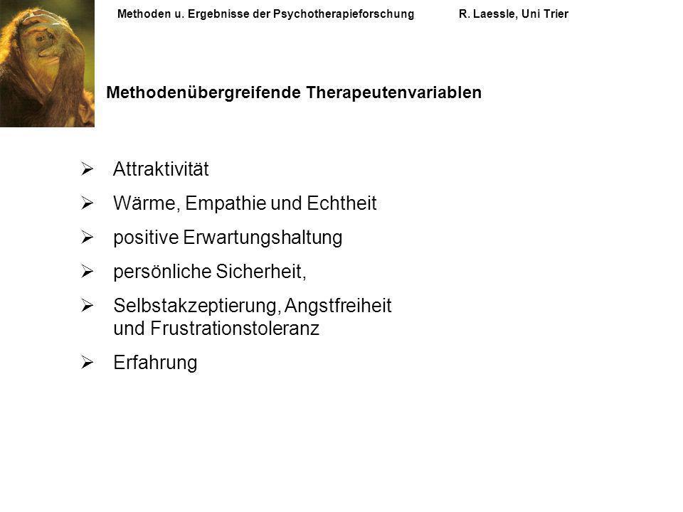 Methoden u. Ergebnisse der PsychotherapieforschungR. Laessle, Uni Trier Methodenübergreifende Therapeutenvariablen Attraktivität Wärme, Empathie und E