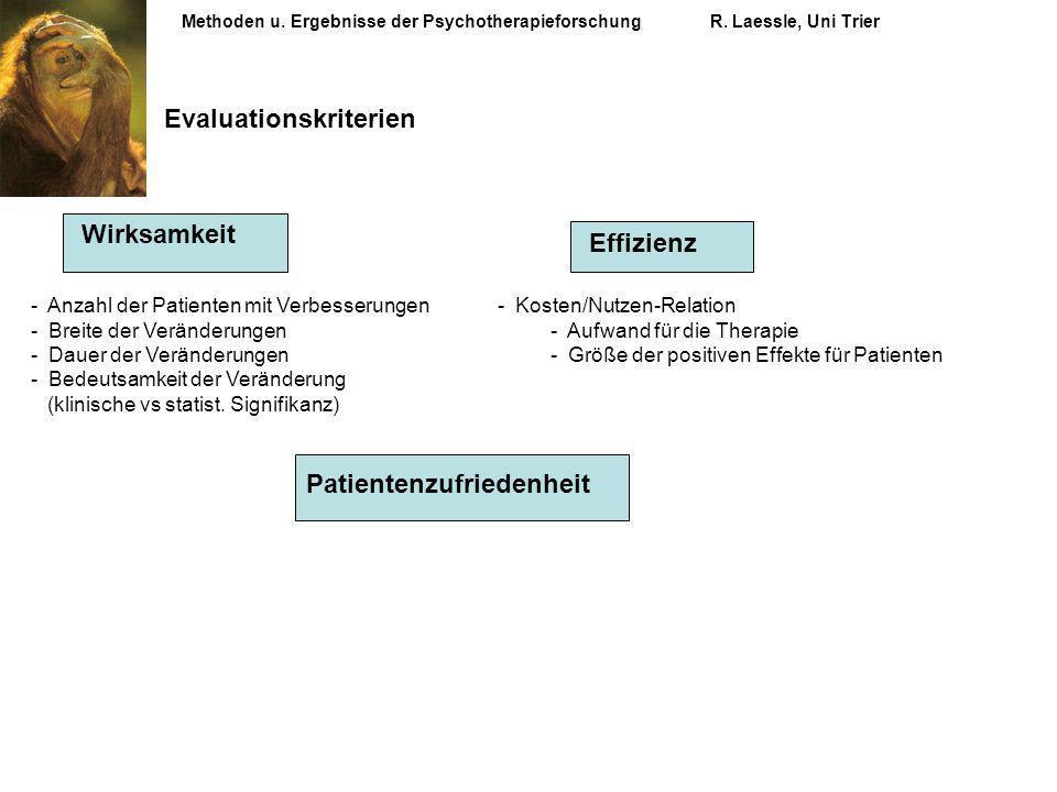 Methoden u. Ergebnisse der PsychotherapieforschungR. Laessle, Uni Trier Evaluationskriterien Patientenzufriedenheit Wirksamkeit Effizienz - Anzahl der