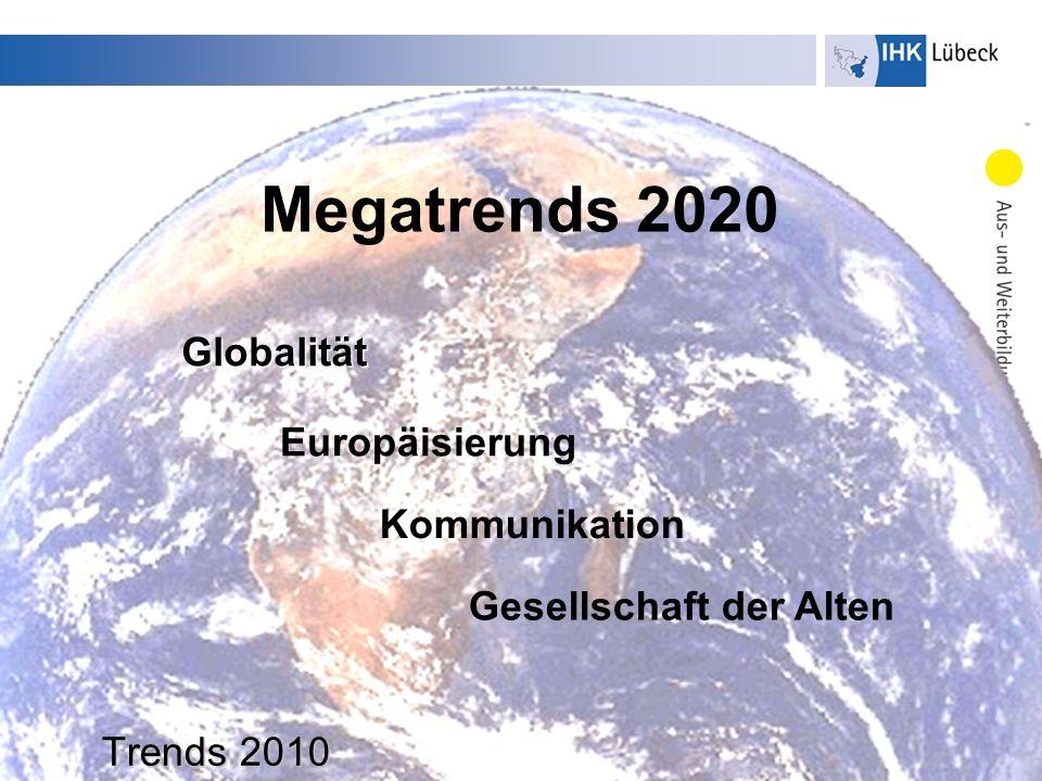 Dr. U. Hoffmeister Trends 2010 Globalität Megatrends 2020 Europäisierung Kommunikation Gesellschaft der Alten