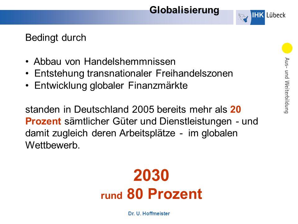Dr. U. Hoffmeister Bedingt durch Abbau von Handelshemmnissen Entstehung transnationaler Freihandelszonen Entwicklung globaler Finanzmärkte standen in