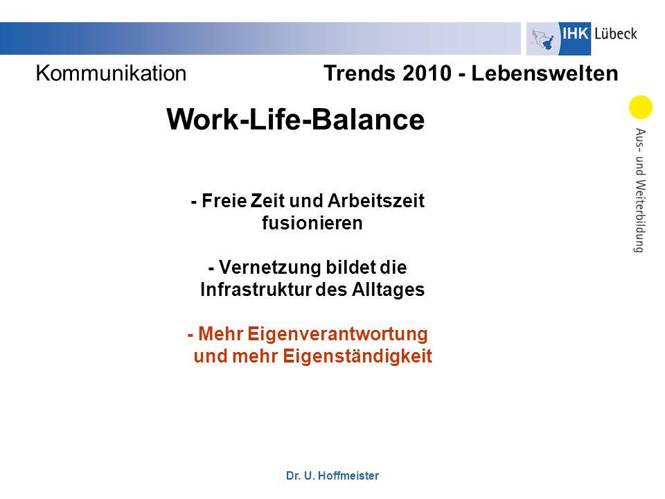- Freie Zeit und Arbeitszeit fusionieren - Vernetzung bildet die Infrastruktur des Alltages - Mehr Eigenverantwortung und mehr Eigenständigkeit Trends
