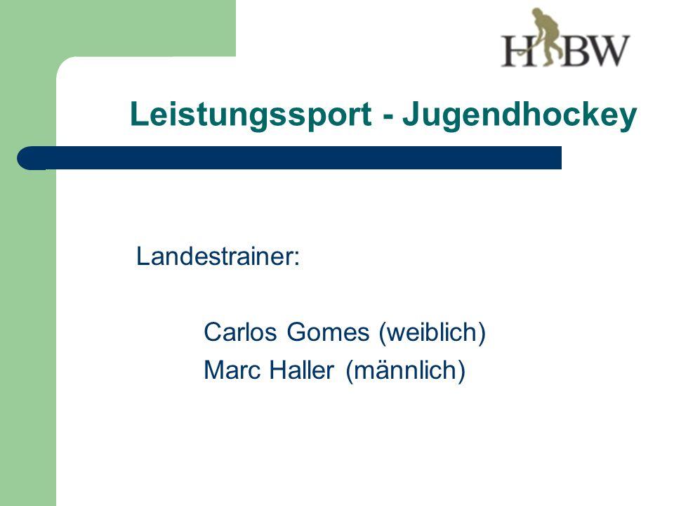 Leistungssport - Jugendhockey Landestrainer: Carlos Gomes (weiblich) Marc Haller (männlich)