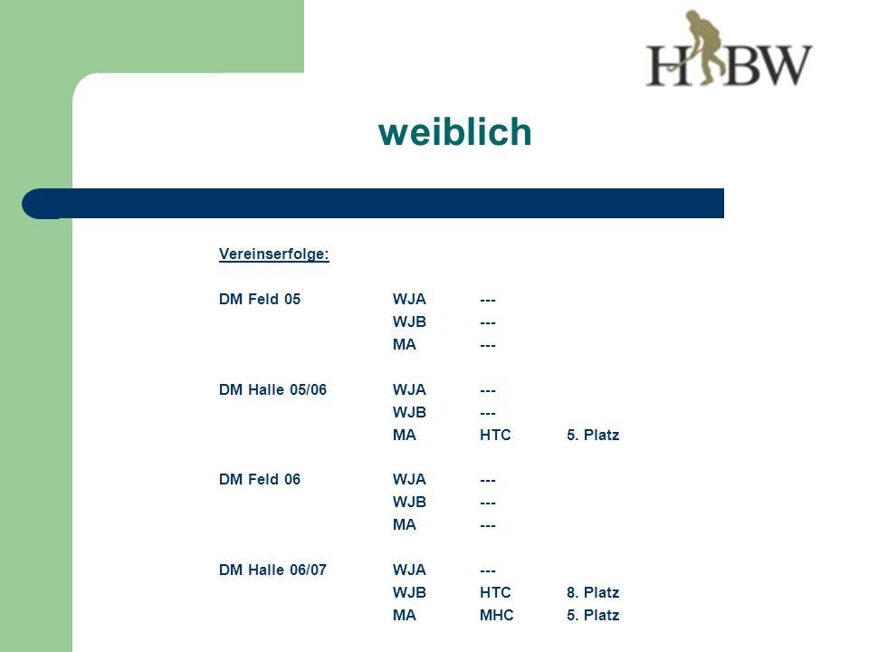 Vereinserfolge: DM Feld 05WJA--- WJB--- MA--- DM Halle 05/06WJA--- WJB--- MAHTC5.