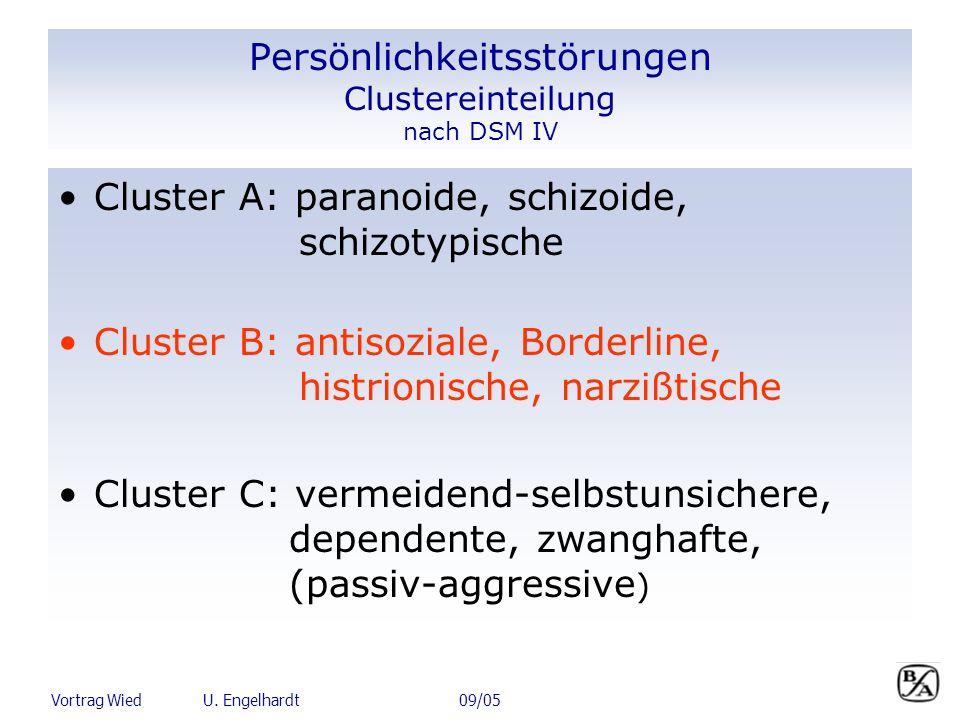 Vortrag Wied U. Engelhardt 09/05 Persönlichkeitsstörungen Clustereinteilung nach DSM IV Cluster A: paranoide, schizoide, schizotypische Cluster B: ant
