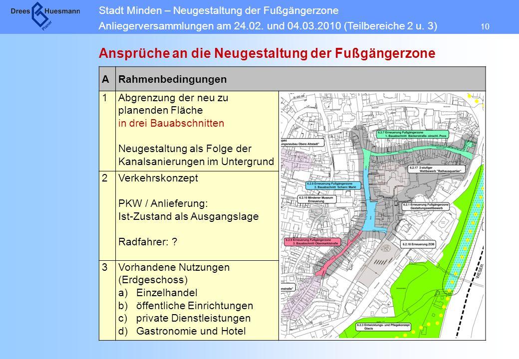 Stadt Minden – Neugestaltung der Fußgängerzone Anliegerversammlungen am 24.02. und 04.03.2010 (Teilbereiche 2 u. 3) 10 Ansprüche an die Neugestaltung