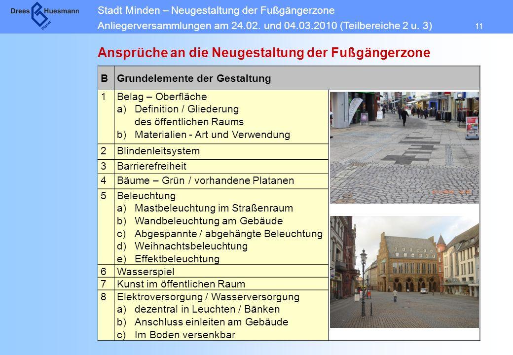 Stadt Minden – Neugestaltung der Fußgängerzone Anliegerversammlungen am 24.02. und 04.03.2010 (Teilbereiche 2 u. 3) 11 Ansprüche an die Neugestaltung
