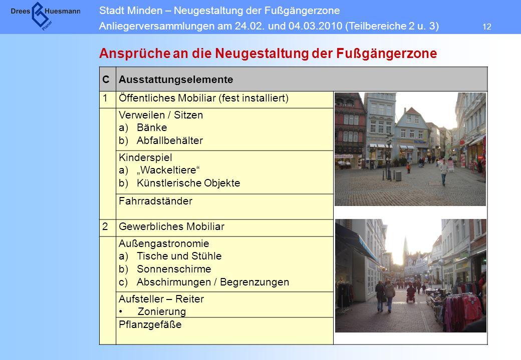 Stadt Minden – Neugestaltung der Fußgängerzone Anliegerversammlungen am 24.02. und 04.03.2010 (Teilbereiche 2 u. 3) 12 Ansprüche an die Neugestaltung