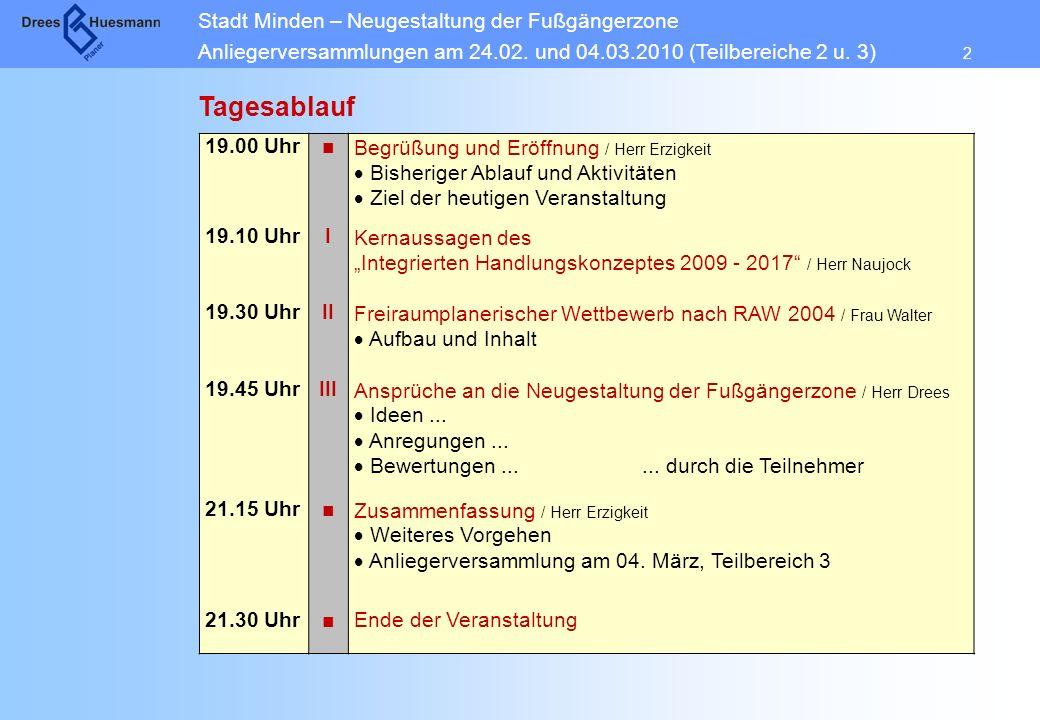 Stadt Minden – Neugestaltung der Fußgängerzone Anliegerversammlungen am 24.02. und 04.03.2010 (Teilbereiche 2 u. 3) 2 Tagesablauf 19.00 UhrBegrüßung u