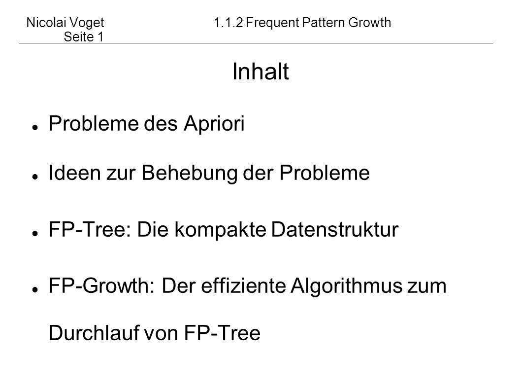 Nicolai Voget1.1.2 Frequent Pattern Growth Seite 1 Probleme des Apriori Ideen zur Behebung der Probleme FP-Tree: Die kompakte Datenstruktur FP-Growth: