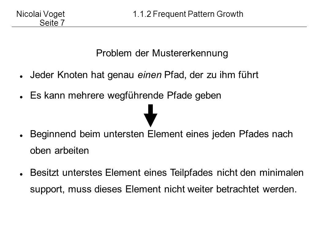 Nicolai Voget1.1.2 Frequent Pattern Growth Seite 8 Beispiel: von b abhängiger FP-Tree ro ot e: 4 n: 3 r: 2 u: 1 d: 1 r: 1 s: 1 b: 1 item head of node-link enrudsbenrudsb n: 1 r: 1 u: 1 d: 1 u: 1 s: 1 b: 1 Pfade mit b:, } von b abhängige Musterbasis: {(e:1, n:1, u:1, s:1), (e:1, r:1, s:1)} Häufige Elemente: e:2, s:2 ro ot e: 2 s: 2 item eses head of node-link