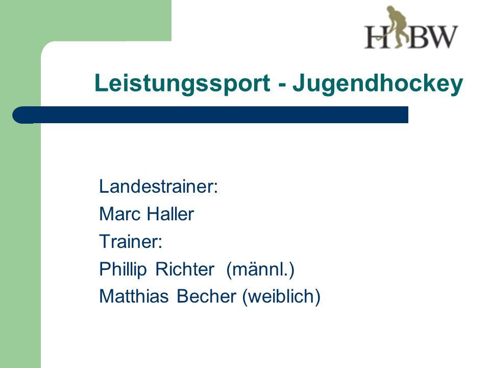 Leistungssport - Jugendhockey Landestrainer: Marc Haller Trainer: Phillip Richter (männl.) Matthias Becher (weiblich)