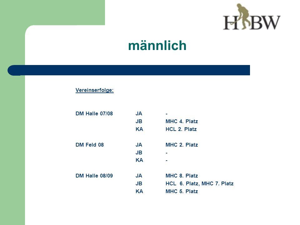 Vereinserfolge: DM Halle 07/08JA - JBMHC 4. Platz KAHCL 2.