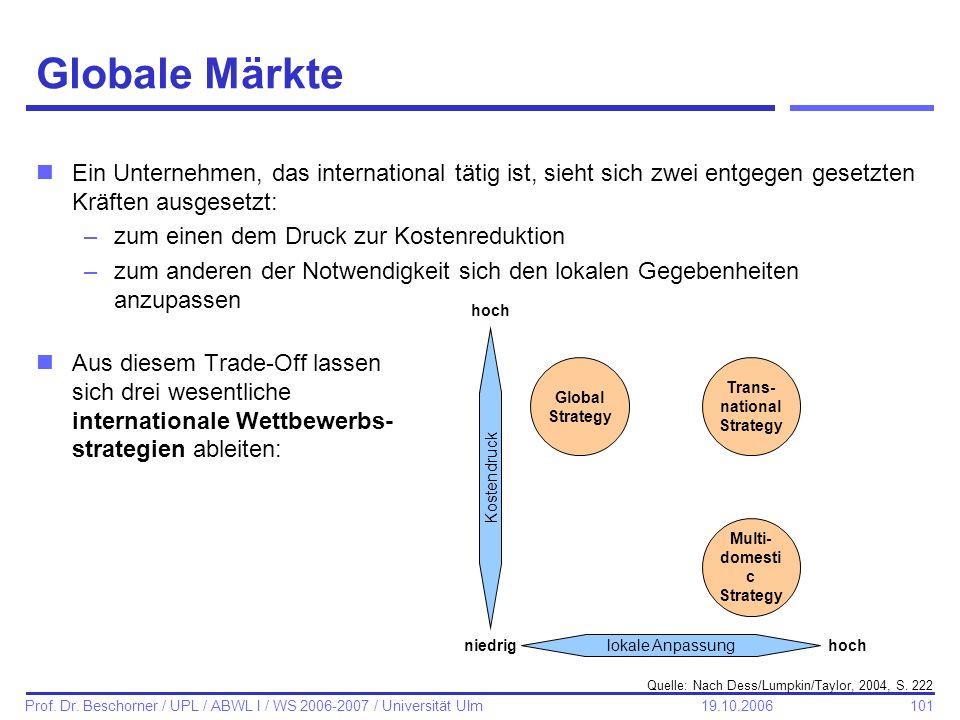 101 Prof. Dr. Beschorner / UPL / ABWL I / WS 2006-2007 / Universität Ulm 19.10.2006 Globale Märkte nEin Unternehmen, das international tätig ist, sieh