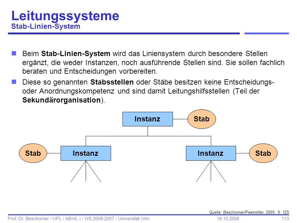 113 Prof. Dr. Beschorner / UPL / ABWL I / WS 2006-2007 / Universität Ulm 19.10.2006 Leitungssysteme Stab-Linien-System nBeim Stab-Linien-System wird d