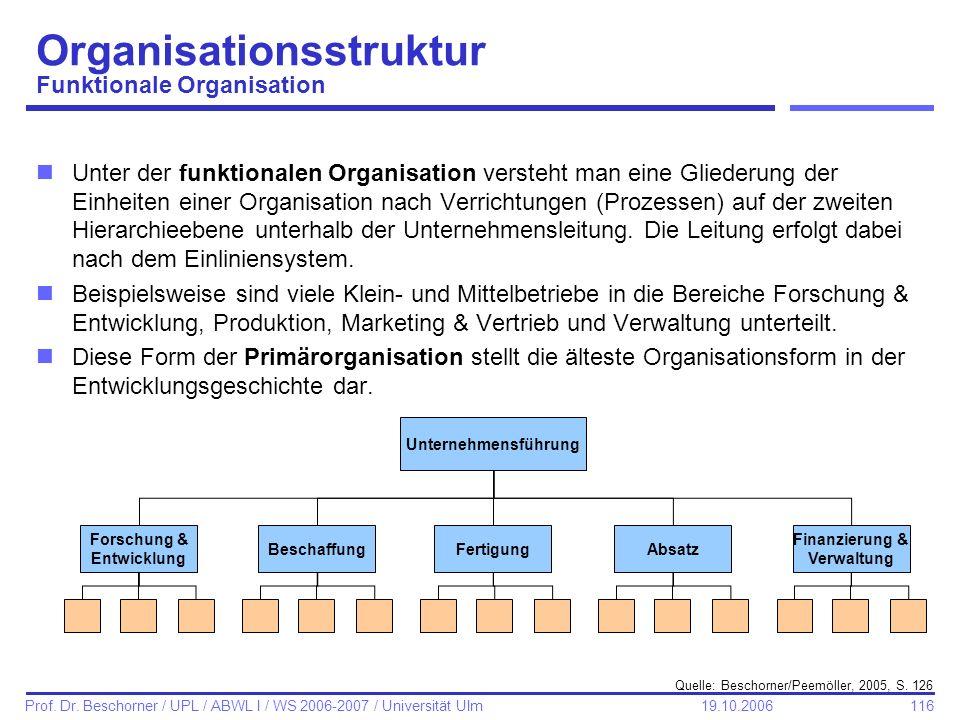 116 Prof. Dr. Beschorner / UPL / ABWL I / WS 2006-2007 / Universität Ulm 19.10.2006 Organisationsstruktur Funktionale Organisation nUnter der funktion