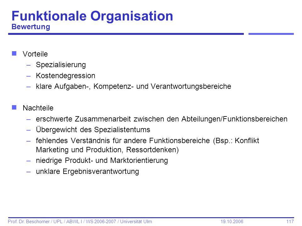 117 Prof. Dr. Beschorner / UPL / ABWL I / WS 2006-2007 / Universität Ulm 19.10.2006 Funktionale Organisation Bewertung nVorteile –Spezialisierung –Kos