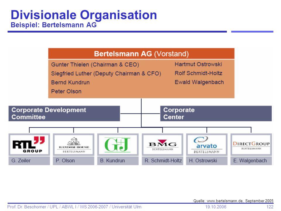 122 Prof. Dr. Beschorner / UPL / ABWL I / WS 2006-2007 / Universität Ulm 19.10.2006 Divisionale Organisation Beispiel: Bertelsmann AG Quelle: www.bert