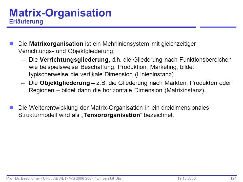 124 Prof. Dr. Beschorner / UPL / ABWL I / WS 2006-2007 / Universität Ulm 19.10.2006 Matrix-Organisation Erläuterung nDie Matrixorganisation ist ein Me