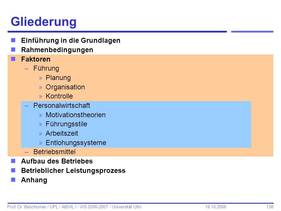 136 Prof. Dr. Beschorner / UPL / ABWL I / WS 2006-2007 / Universität Ulm 19.10.2006 Gliederung nEinführung in die Grundlagen nRahmenbedingungen nFakto