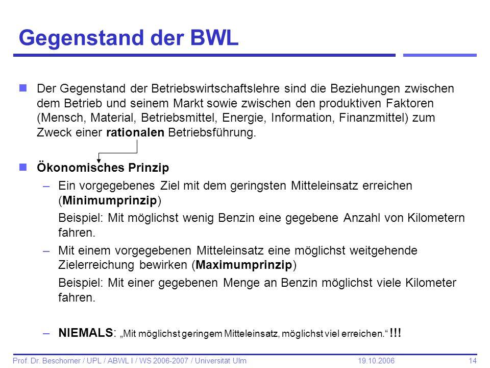 14 Prof. Dr. Beschorner / UPL / ABWL I / WS 2006-2007 / Universität Ulm 19.10.2006 Gegenstand der BWL nDer Gegenstand der Betriebswirtschaftslehre sin