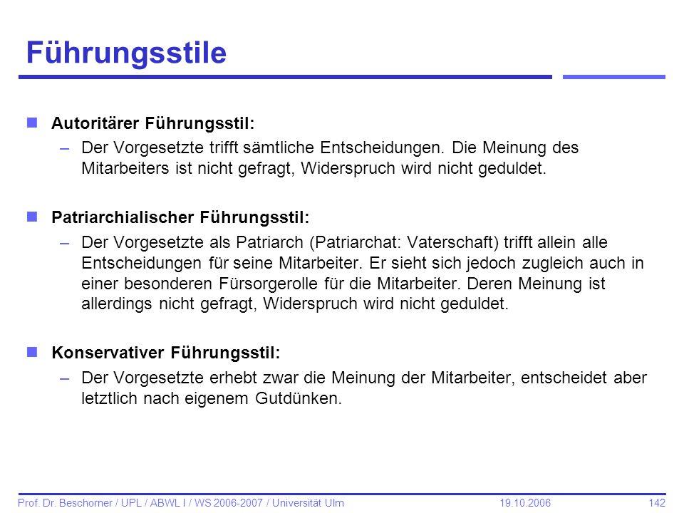 142 Prof. Dr. Beschorner / UPL / ABWL I / WS 2006-2007 / Universität Ulm 19.10.2006 Führungsstile nAutoritärer Führungsstil: –Der Vorgesetzte trifft s