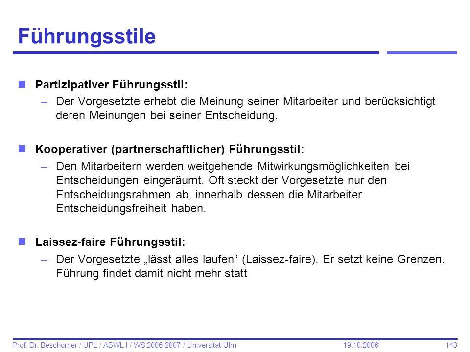 143 Prof. Dr. Beschorner / UPL / ABWL I / WS 2006-2007 / Universität Ulm 19.10.2006 Führungsstile nPartizipativer Führungsstil: –Der Vorgesetzte erheb