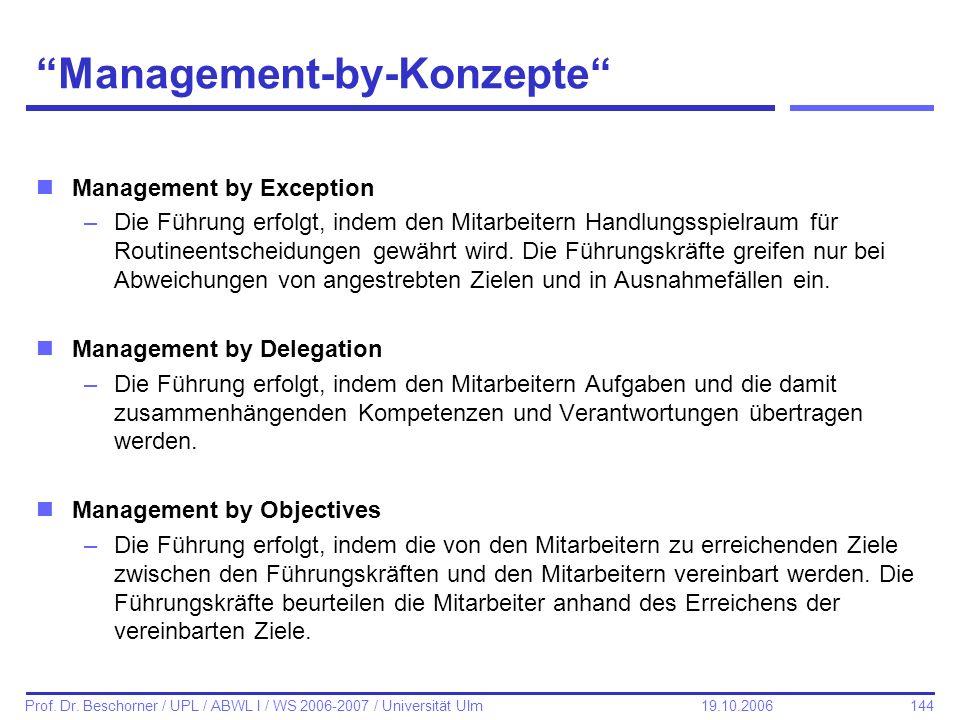 144 Prof. Dr. Beschorner / UPL / ABWL I / WS 2006-2007 / Universität Ulm 19.10.2006 Management-by-Konzepte nManagement by Exception –Die Führung erfol