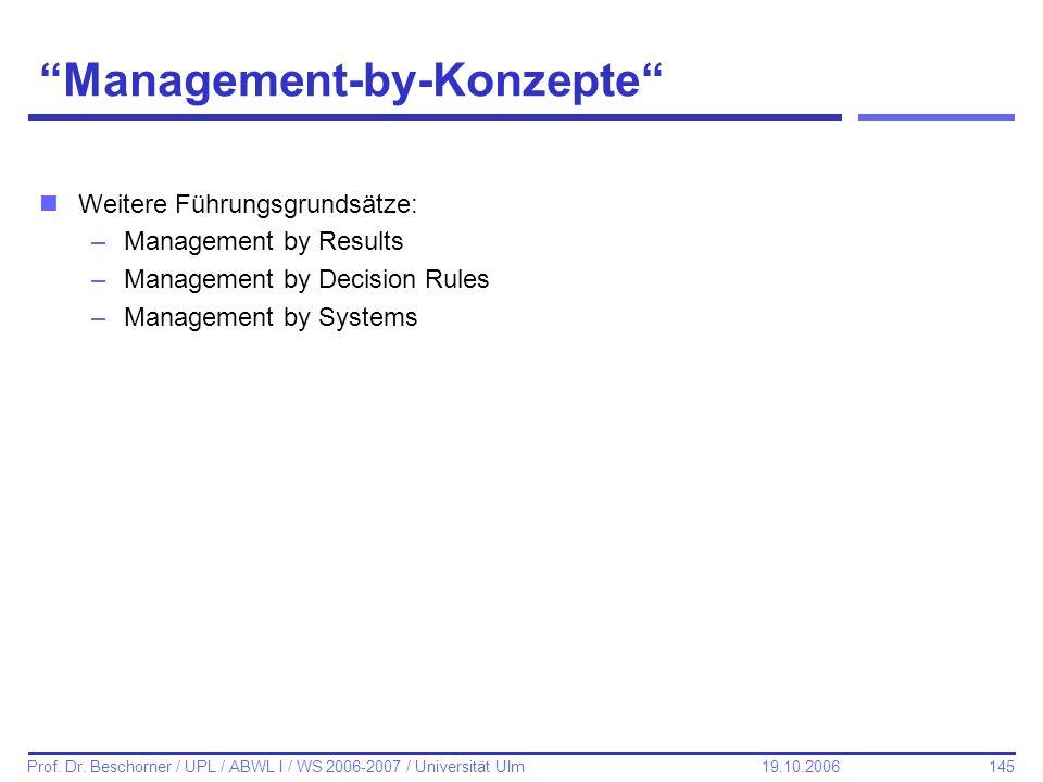 145 Prof. Dr. Beschorner / UPL / ABWL I / WS 2006-2007 / Universität Ulm 19.10.2006 Management-by-Konzepte nWeitere Führungsgrundsätze: –Management by
