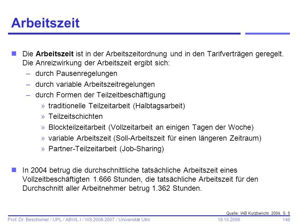 148 Prof. Dr. Beschorner / UPL / ABWL I / WS 2006-2007 / Universität Ulm 19.10.2006 Arbeitszeit nDie Arbeitszeit ist in der Arbeitszeitordnung und in