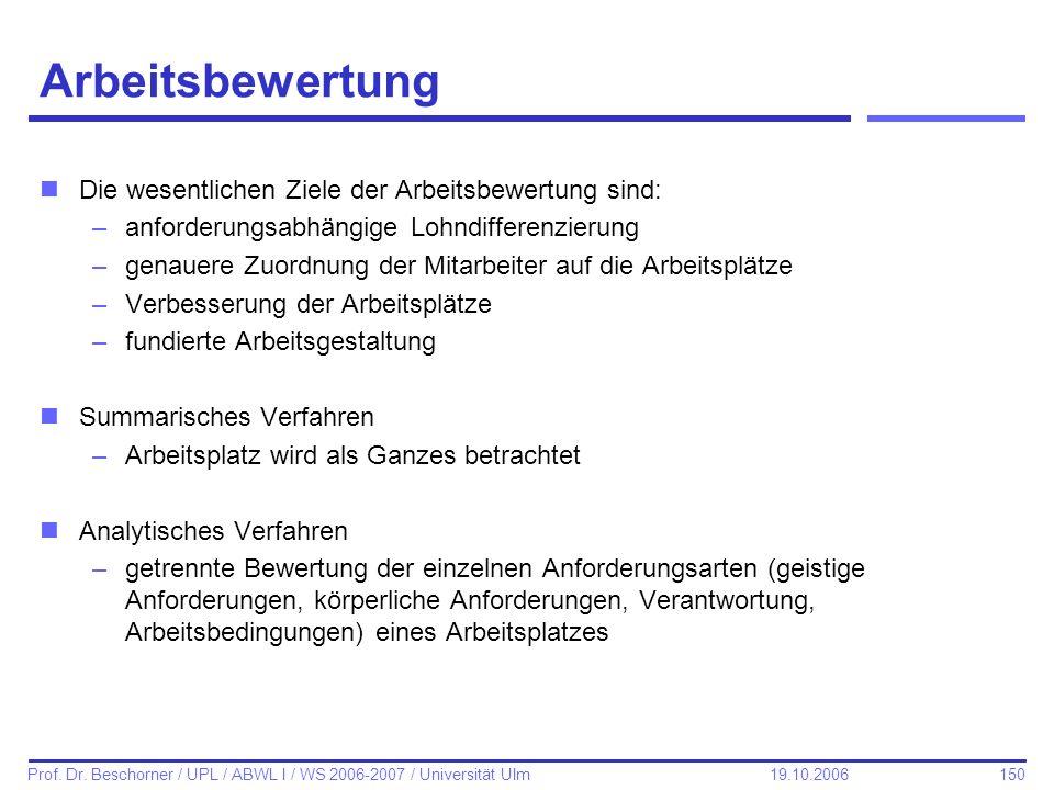 150 Prof. Dr. Beschorner / UPL / ABWL I / WS 2006-2007 / Universität Ulm 19.10.2006 Arbeitsbewertung nDie wesentlichen Ziele der Arbeitsbewertung sind