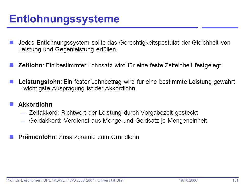 151 Prof. Dr. Beschorner / UPL / ABWL I / WS 2006-2007 / Universität Ulm 19.10.2006 Entlohnungssysteme nJedes Entlohnungssystem sollte das Gerechtigke