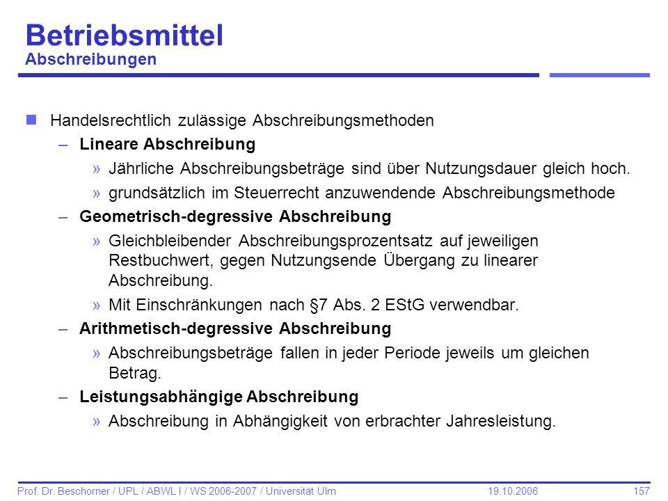 157 Prof. Dr. Beschorner / UPL / ABWL I / WS 2006-2007 / Universität Ulm 19.10.2006 Betriebsmittel Abschreibungen nHandelsrechtlich zulässige Abschrei