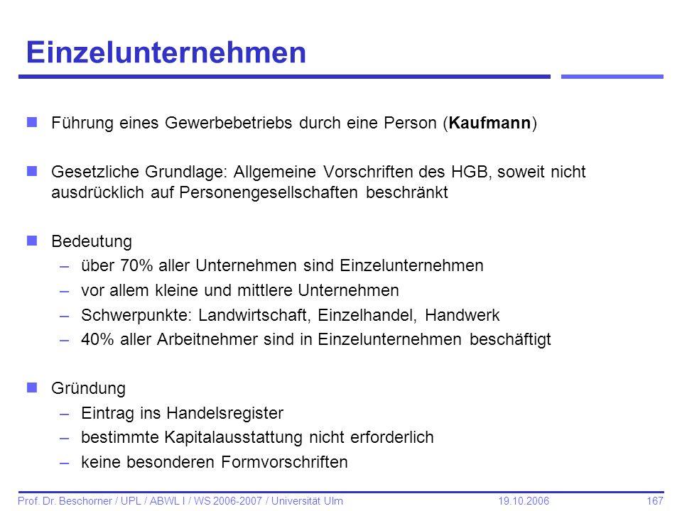 167 Prof. Dr. Beschorner / UPL / ABWL I / WS 2006-2007 / Universität Ulm 19.10.2006 Einzelunternehmen nFührung eines Gewerbebetriebs durch eine Person