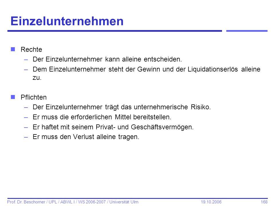 168 Prof. Dr. Beschorner / UPL / ABWL I / WS 2006-2007 / Universität Ulm 19.10.2006 Einzelunternehmen nRechte –Der Einzelunternehmer kann alleine ents