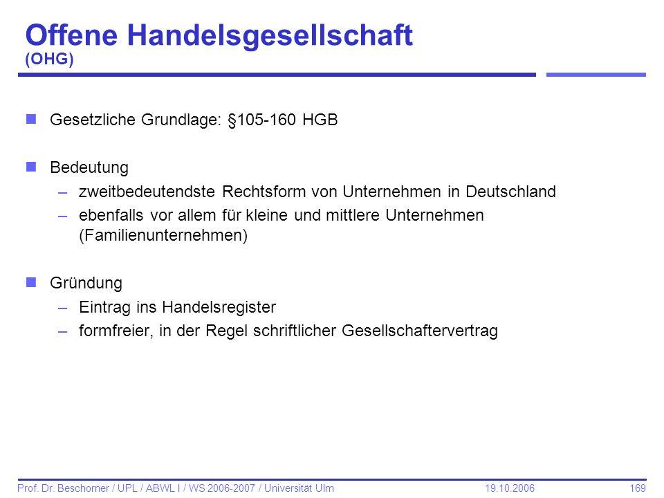 169 Prof. Dr. Beschorner / UPL / ABWL I / WS 2006-2007 / Universität Ulm 19.10.2006 Offene Handelsgesellschaft (OHG) nGesetzliche Grundlage: §105-160