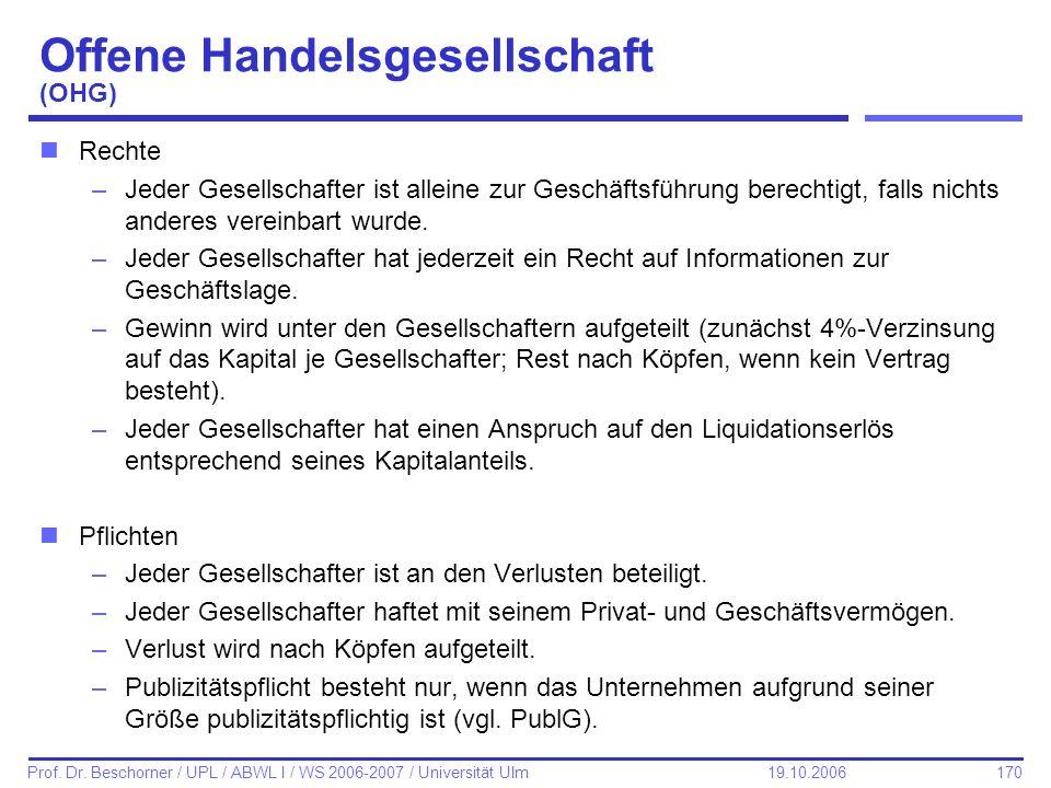 170 Prof. Dr. Beschorner / UPL / ABWL I / WS 2006-2007 / Universität Ulm 19.10.2006 Offene Handelsgesellschaft (OHG) nRechte –Jeder Gesellschafter ist