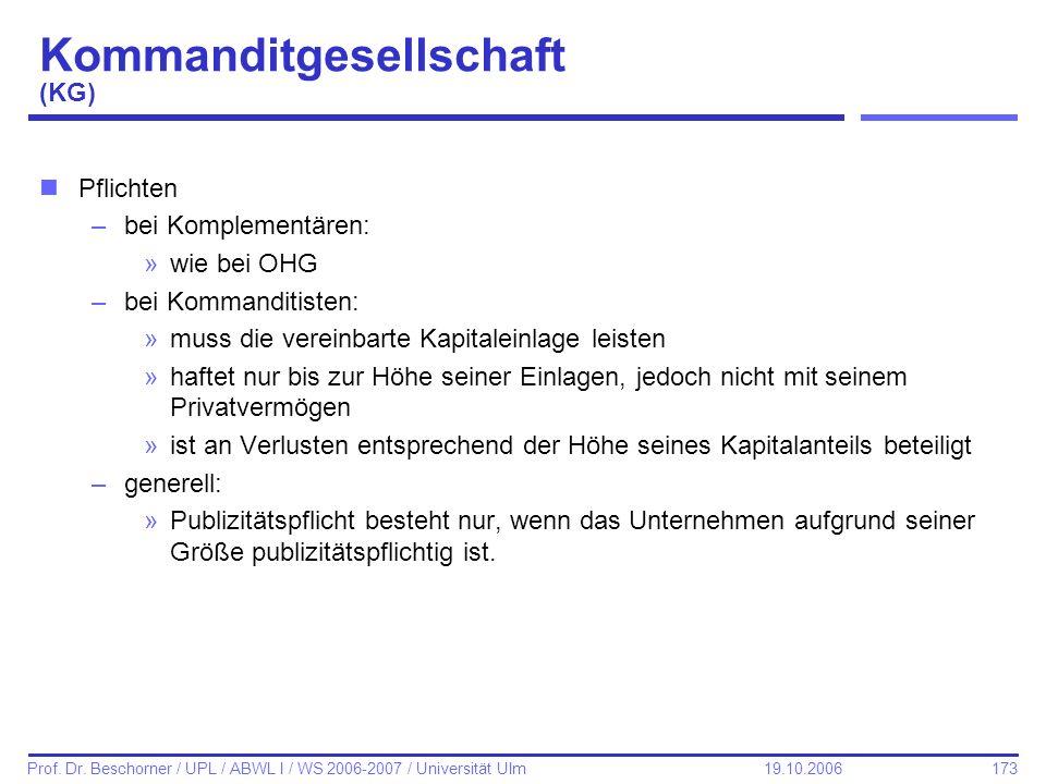 173 Prof. Dr. Beschorner / UPL / ABWL I / WS 2006-2007 / Universität Ulm 19.10.2006 Kommanditgesellschaft (KG) nPflichten –bei Komplementären: »wie be