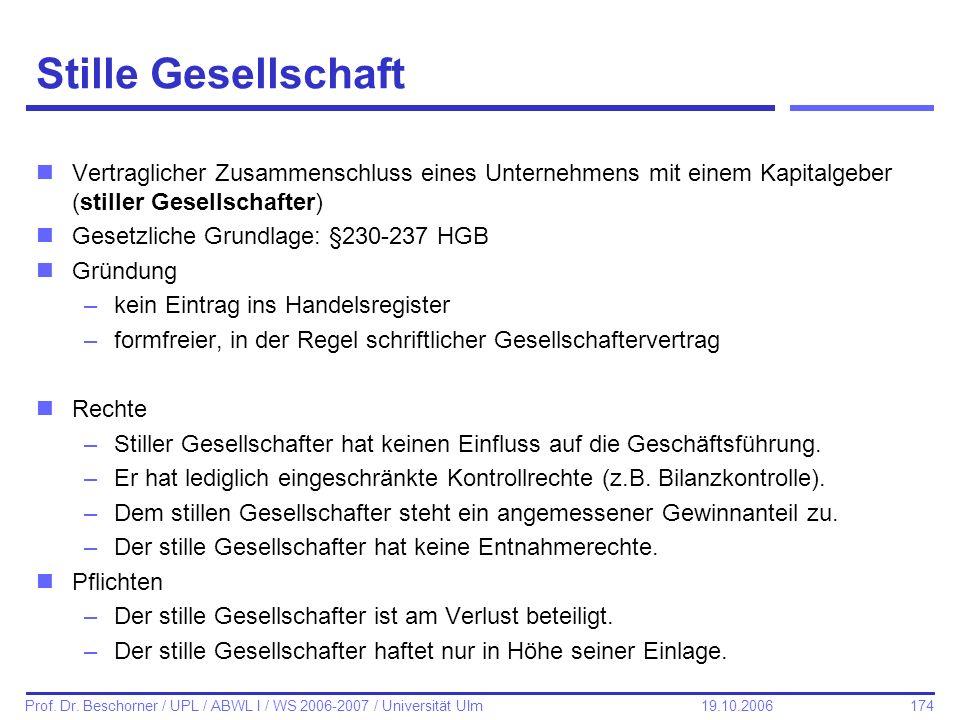174 Prof. Dr. Beschorner / UPL / ABWL I / WS 2006-2007 / Universität Ulm 19.10.2006 Stille Gesellschaft nVertraglicher Zusammenschluss eines Unternehm