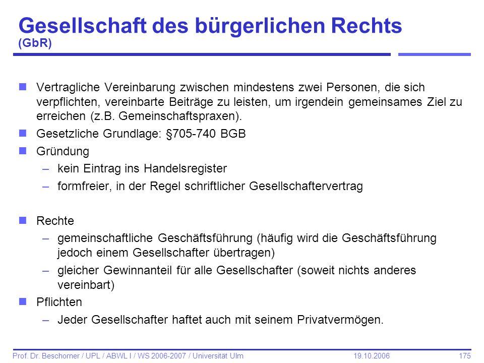 175 Prof. Dr. Beschorner / UPL / ABWL I / WS 2006-2007 / Universität Ulm 19.10.2006 Gesellschaft des bürgerlichen Rechts (GbR) nVertragliche Vereinbar