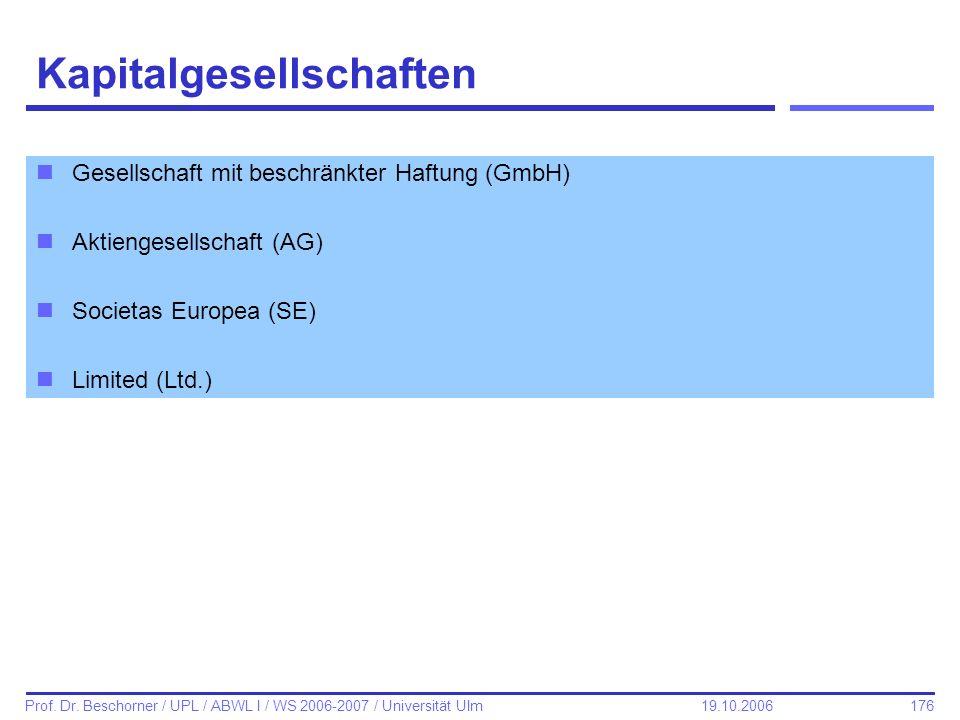 176 Prof. Dr. Beschorner / UPL / ABWL I / WS 2006-2007 / Universität Ulm 19.10.2006 Kapitalgesellschaften nGesellschaft mit beschränkter Haftung (GmbH