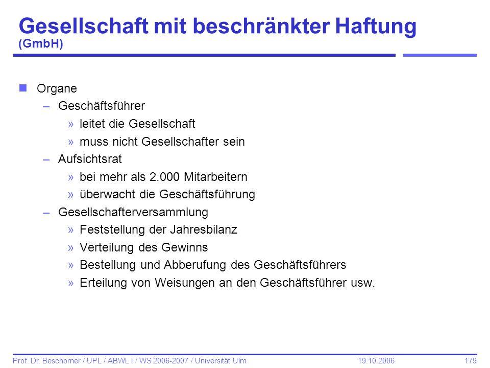 179 Prof. Dr. Beschorner / UPL / ABWL I / WS 2006-2007 / Universität Ulm 19.10.2006 Gesellschaft mit beschränkter Haftung (GmbH) nOrgane –Geschäftsfüh