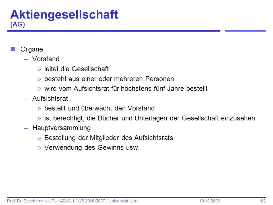 182 Prof. Dr. Beschorner / UPL / ABWL I / WS 2006-2007 / Universität Ulm 19.10.2006 Aktiengesellschaft (AG) nOrgane –Vorstand »leitet die Gesellschaft