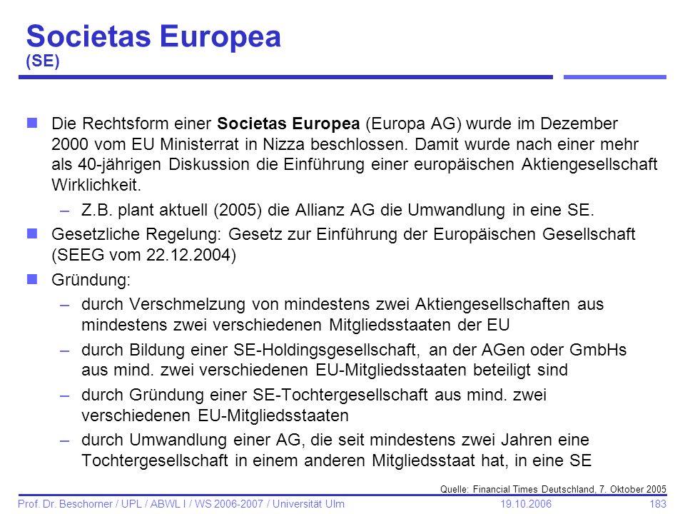 183 Prof. Dr. Beschorner / UPL / ABWL I / WS 2006-2007 / Universität Ulm 19.10.2006 Societas Europea (SE) nDie Rechtsform einer Societas Europea (Euro