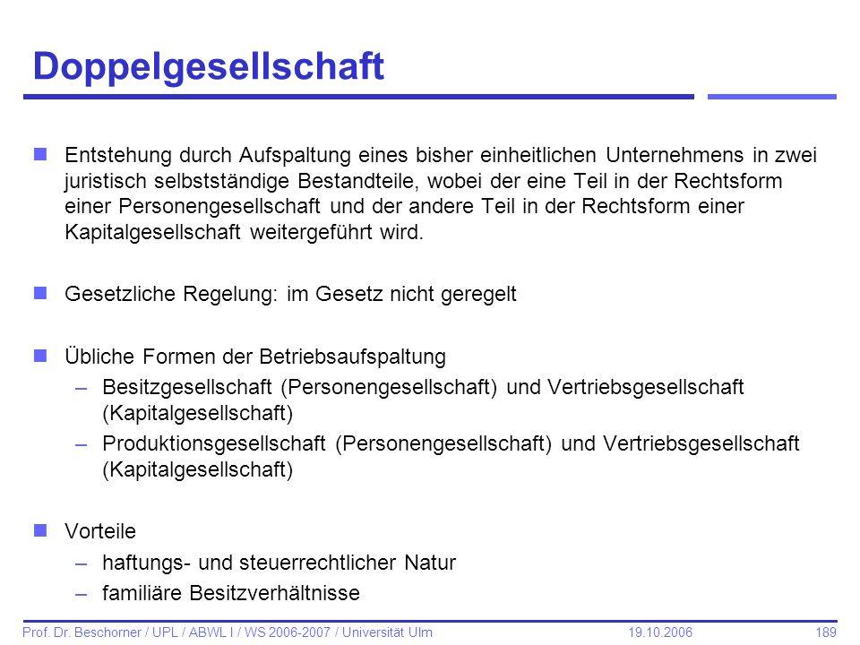 189 Prof. Dr. Beschorner / UPL / ABWL I / WS 2006-2007 / Universität Ulm 19.10.2006 Doppelgesellschaft nEntstehung durch Aufspaltung eines bisher einh