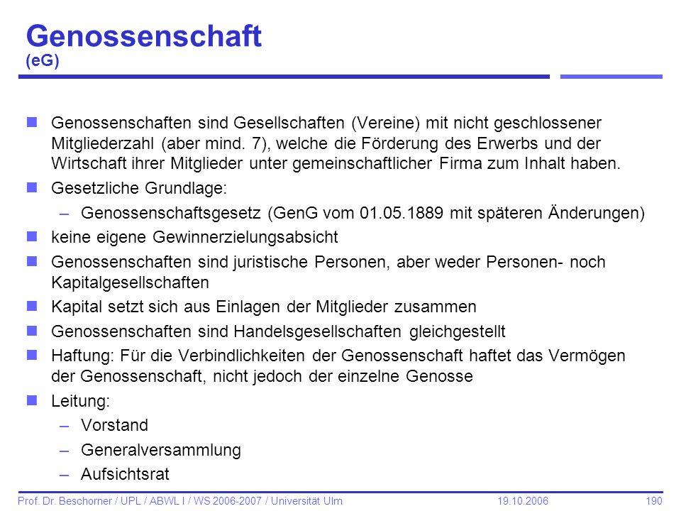 190 Prof. Dr. Beschorner / UPL / ABWL I / WS 2006-2007 / Universität Ulm 19.10.2006 Genossenschaft (eG) nGenossenschaften sind Gesellschaften (Vereine