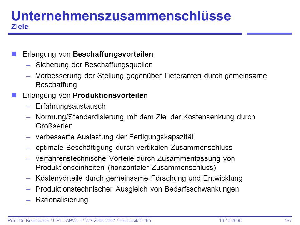 197 Prof. Dr. Beschorner / UPL / ABWL I / WS 2006-2007 / Universität Ulm 19.10.2006 nErlangung von Beschaffungsvorteilen –Sicherung der Beschaffungsqu