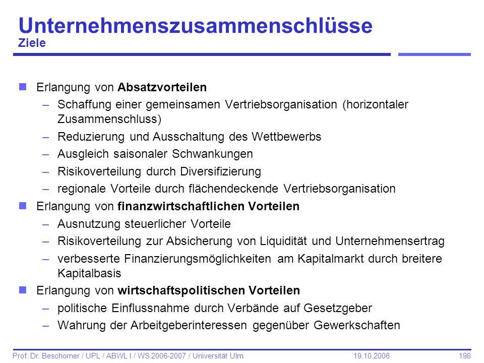 198 Prof. Dr. Beschorner / UPL / ABWL I / WS 2006-2007 / Universität Ulm 19.10.2006 nErlangung von Absatzvorteilen –Schaffung einer gemeinsamen Vertri